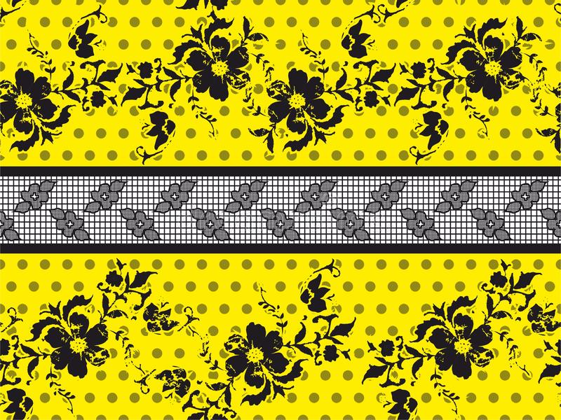 Seamless Black Vector Lace Pattern with flowers on yellow background.Rounds,circle. royalty free illustration