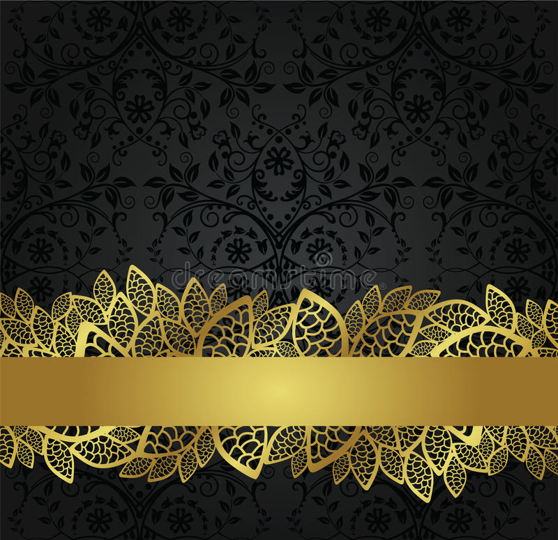 Seamless black wallpaper and golden lace banner. Seamless black foliage wallpaper and golden lace banner with space for your text. This image is an illustration royalty free illustration