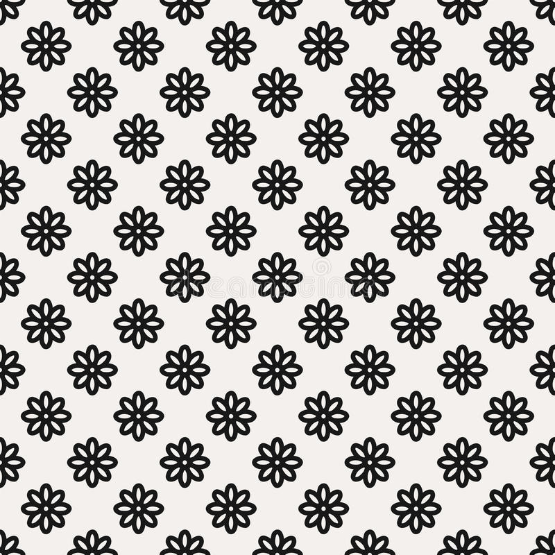 Seamless Black and White Abstract Flower Pattern from Ellipses. Seamless black and white abstract flower pattern created from circle and ellipses royalty free illustration