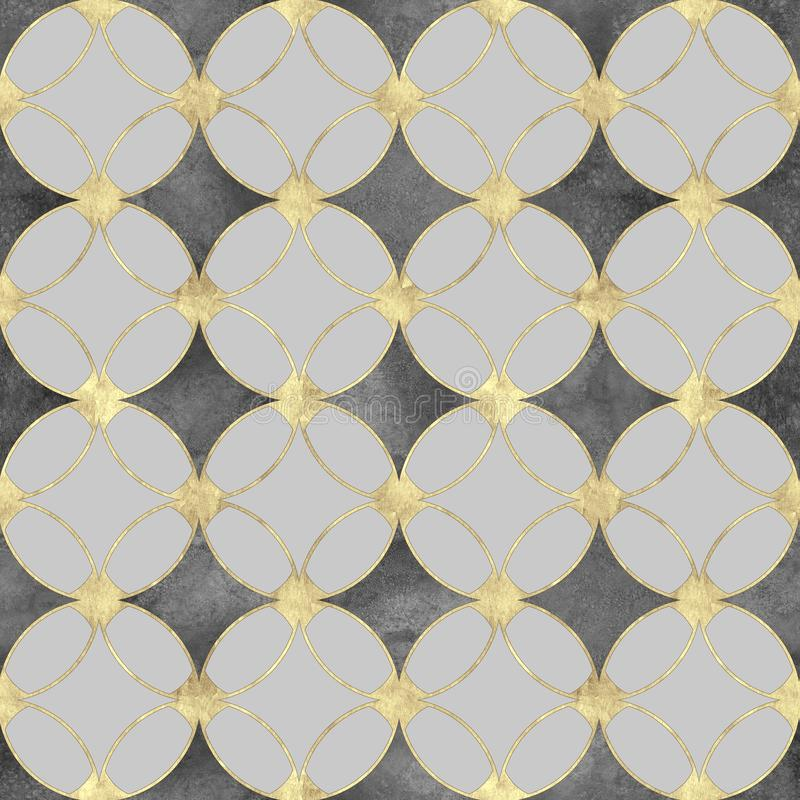 Seamless black and white background with abstract vintage gold glitter pattern royalty free stock images