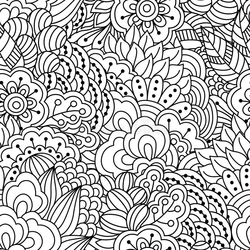 Seamless black and white background. Floral, ethnic, hand drawn elements for design. royalty free illustration
