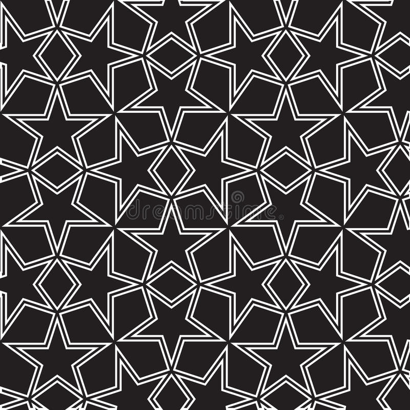 Seamless black and white background with stars. Is monochrome illustration in arabic style. May be useful for print, fabric, wrapping, packing, tapestry stock illustration