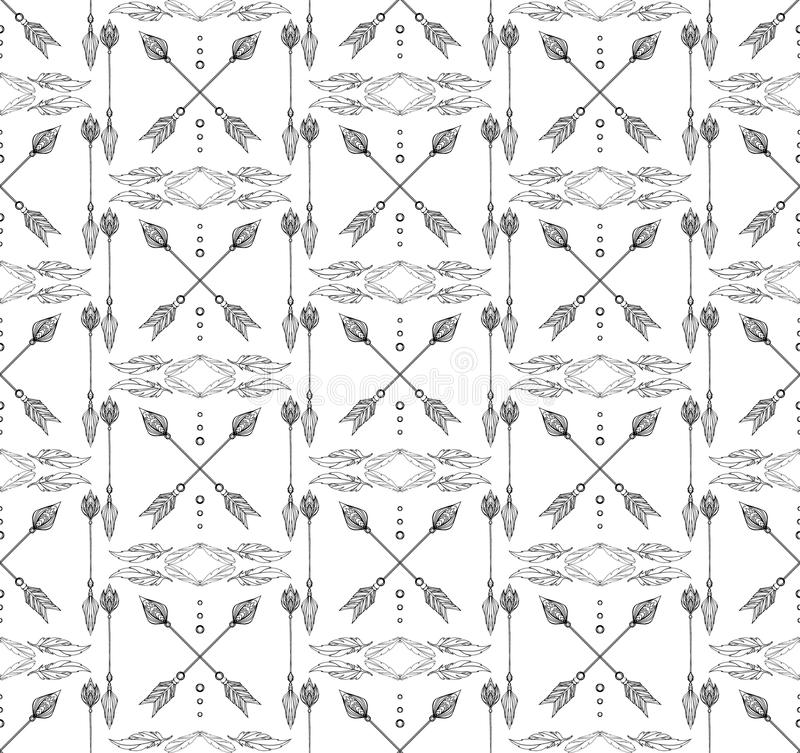 Download Seamless Black And White Boho Texture Of Arrows Feathers Stock Vector
