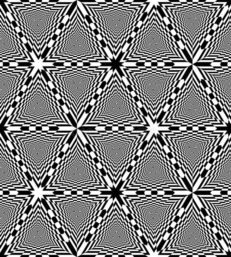 Seamless Black and White Chessboard Triangles Pattern. Geometric Abstract Background. Optical Illusion of Perspective. Suitable for Web Design. Vector stock illustration
