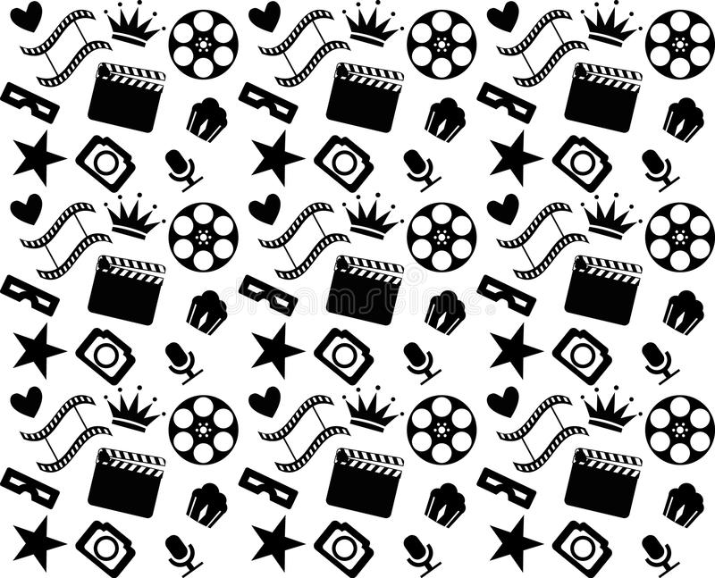 Download Seamless Black And White Cinema Pattern Stock Vector - Image: 32339299