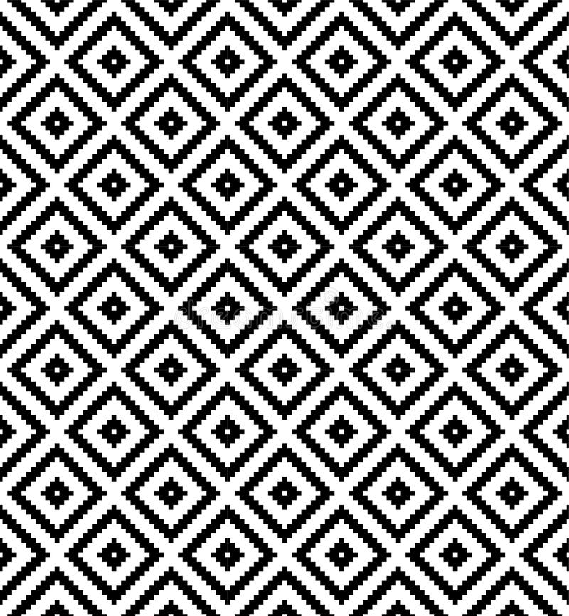 Seamless black and white diamond grid check pixel repeat pattern royalty free illustration