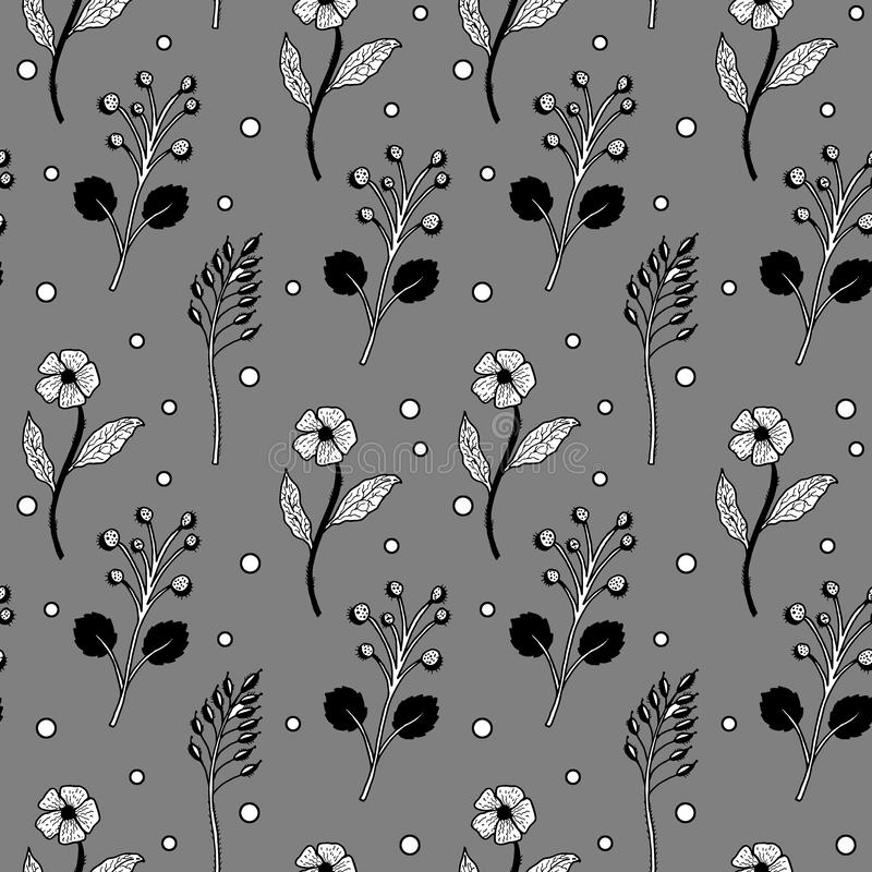 Seamless black and white floral pattern gray royalty free illustration