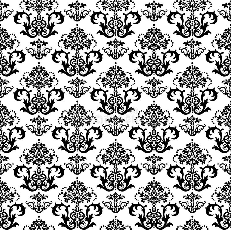 Black Flower And Bud Pattern Royalty Free Stock Photos: Seamless Black And White Floral Wallpaper Pattern Royalty