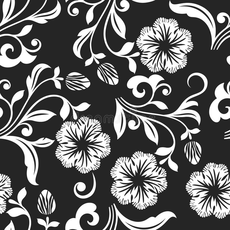 Download seamless black and white flower background stock vector illustration of outline classic