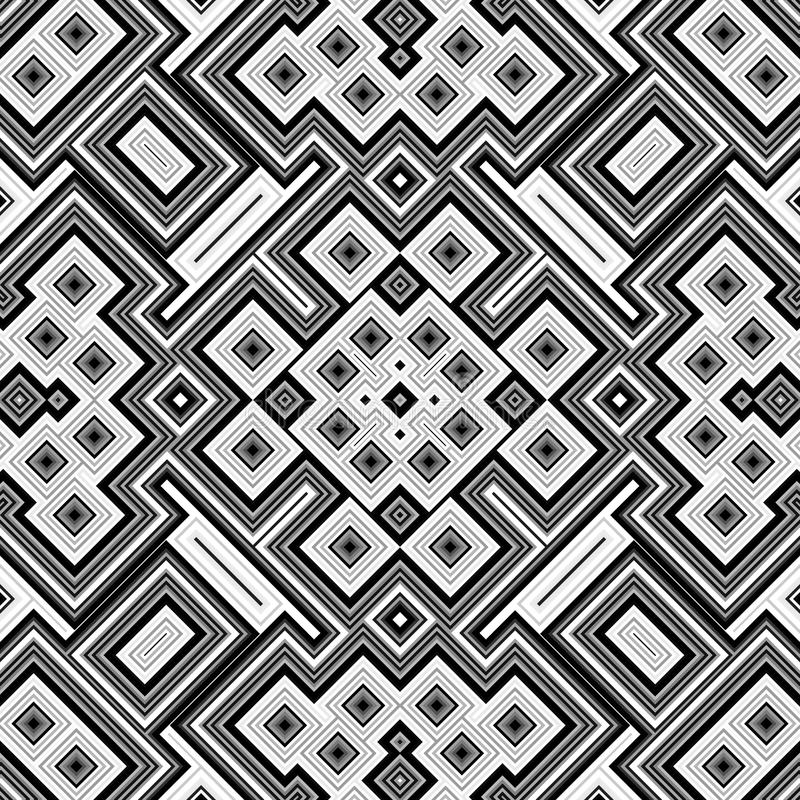 Seamless black and white geometric background vector illustration