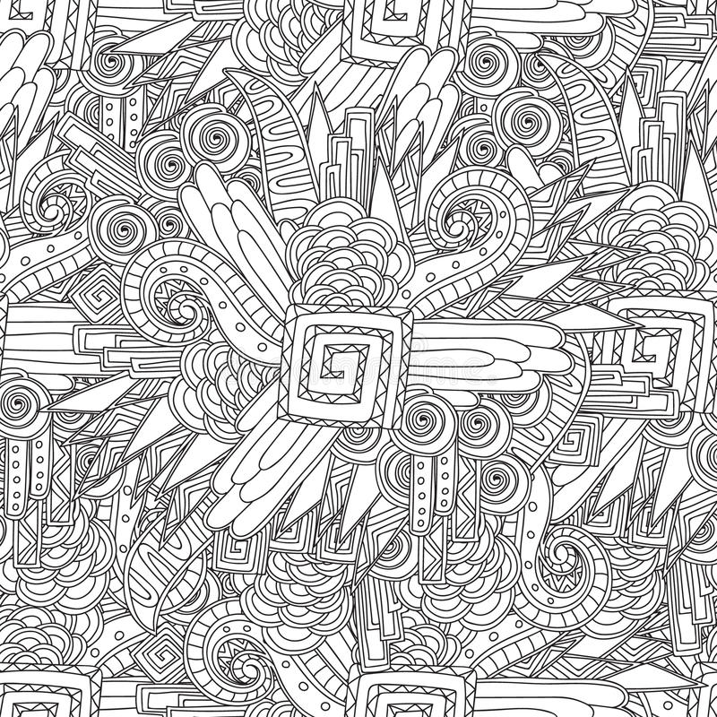 Seamless Black And White Geometric Pattern. Coloring Page For Sdults ...