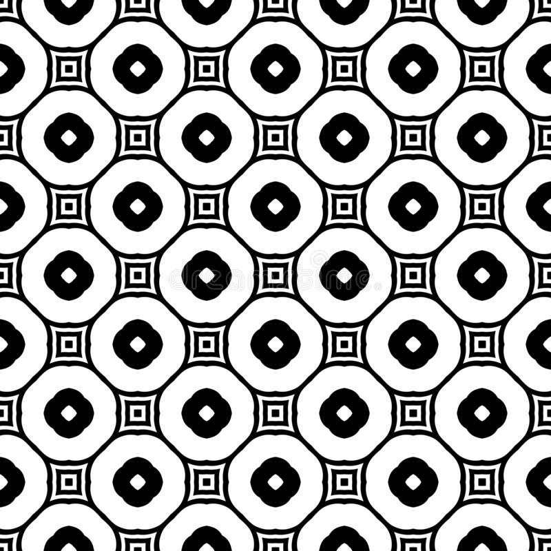 Decorative flower circle black and white seamless repeated geometric pattern background. Textile, books, fabric. Seamless,geometric repeated,printing,bed sheet royalty free illustration
