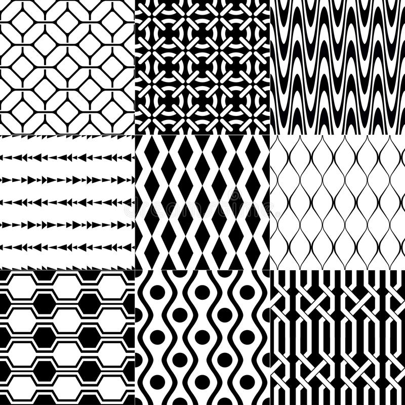 Seamless black and white geometric pattern royalty free illustration