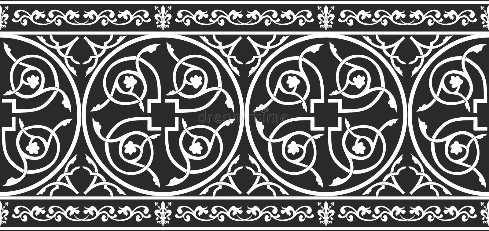 Seamless black-and-white gothic floral border royalty free illustration