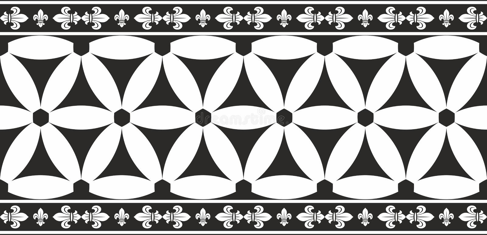 Download Seamless Black-and-white Gothic Floral Border Stock Vector - Image: 24696024