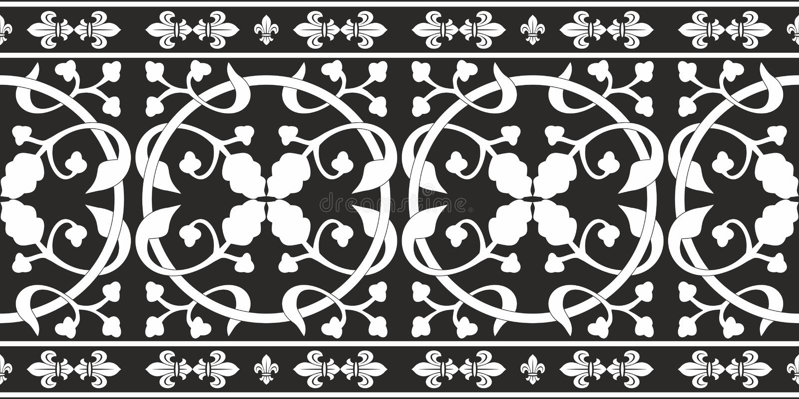 Seamless black-and-white gothic floral pattern stock illustration