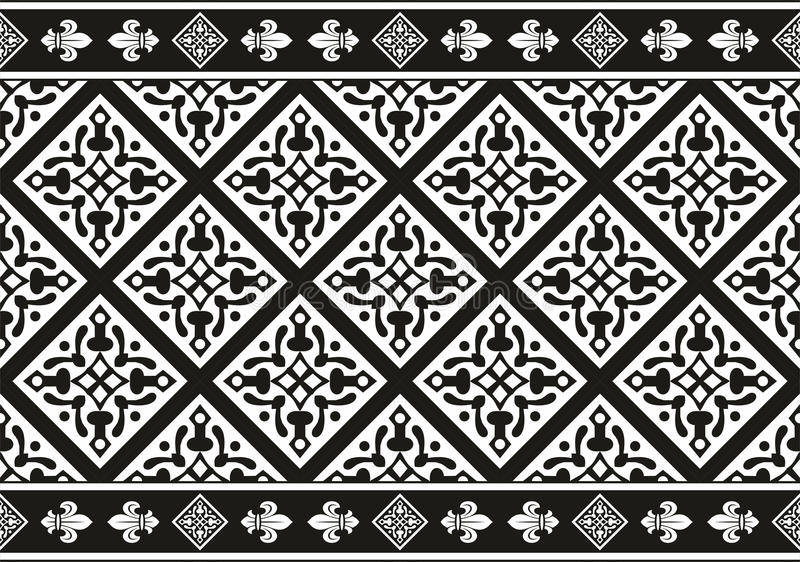 Seamless black-and-white gothic floral texture. Geometrical Seamless black-and-white gothic floral vector texture (border stock illustration