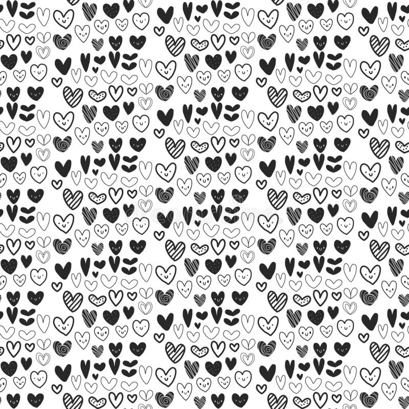 Seamless black and white heart pattern on white font. In different forms royalty free illustration