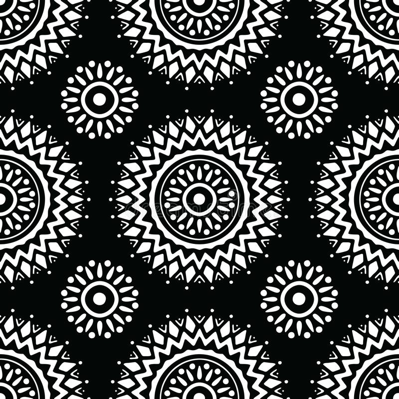 Seamless black and white mandala pattern royalty free illustration