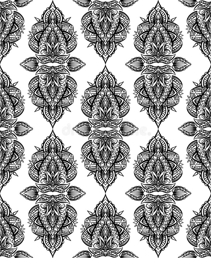 Seamless black and white paisley pattern with boho ornaments in row. Tribal background royalty free illustration