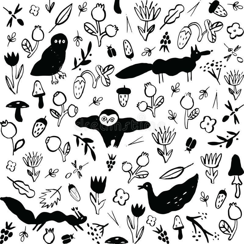 Seamless black and white pattern with animals, flowers, berries, mushrooms and insects. royalty free illustration