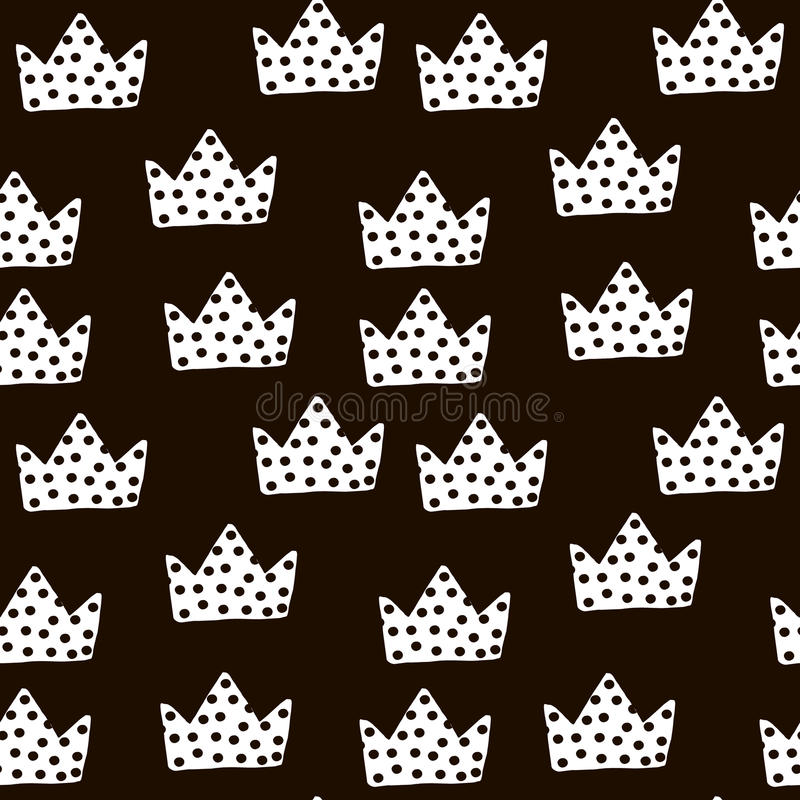 Seamless black and white pattern with crowns. Childish texture for fabric, textile. Vector background royalty free illustration