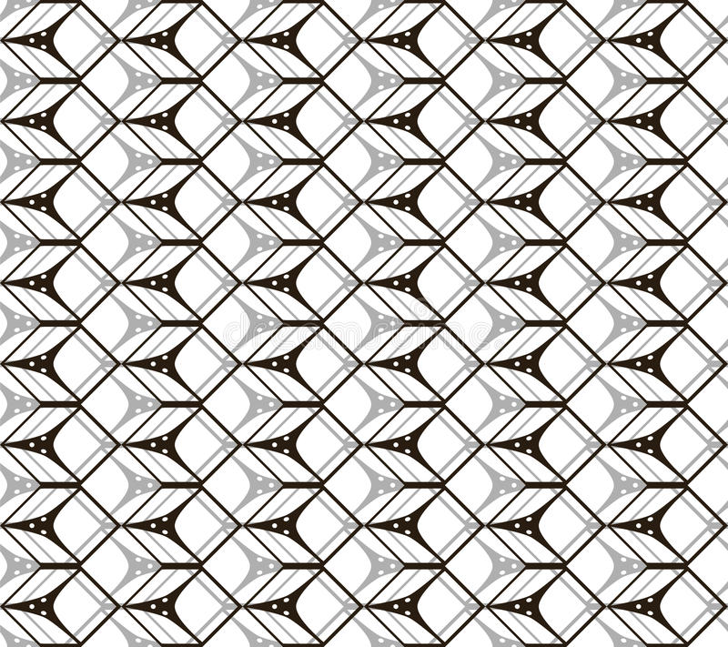 Seamless black and white pattern of cubic forms vector illustration