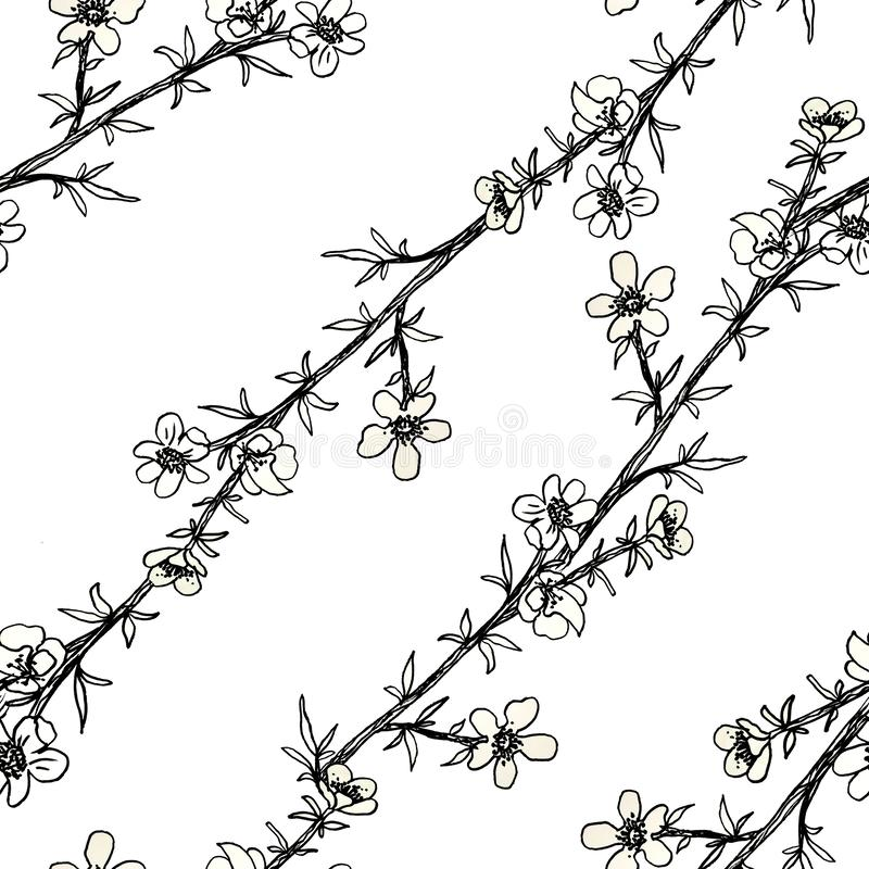 Seamless black and white pattern of decorative flowers. Cute twigs . Print for fabric and other surfaces. illustration drawn by. Hand with ink and black pen stock illustration
