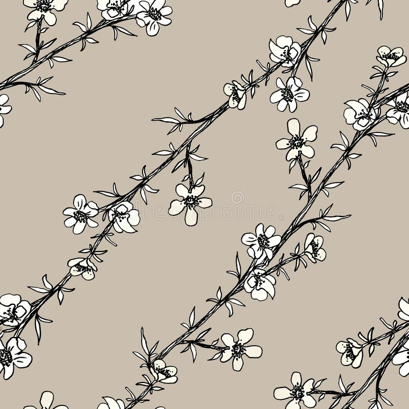 Seamless black and white pattern of decorative flowers. Cute twigs. Print for fabric and other surfaces. illustration drawn by. Hand with ink and black pen vector illustration