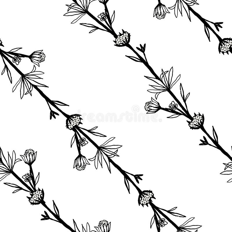 Seamless black and white pattern of decorative flowers. Cute twigs . Print for fabric and other surfaces. illustration drawn by. Hand with ink and black pen royalty free illustration