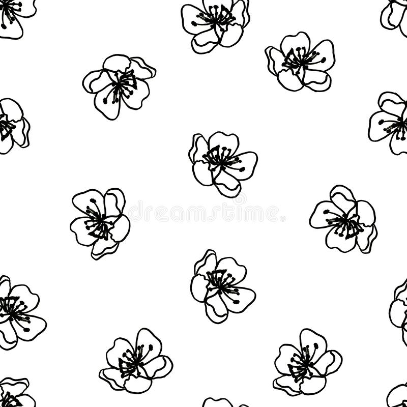 Seamless black and white pattern of decorative flowers. Cute twigs . Print for fabric and other surfaces. illustration drawn by. Hand with ink and black pen vector illustration