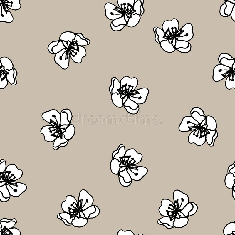 Seamless black and white pattern of decorative flowers. Cute twigs. Print for fabric and other surfaces. illustration drawn by. Hand with ink and black pen stock illustration
