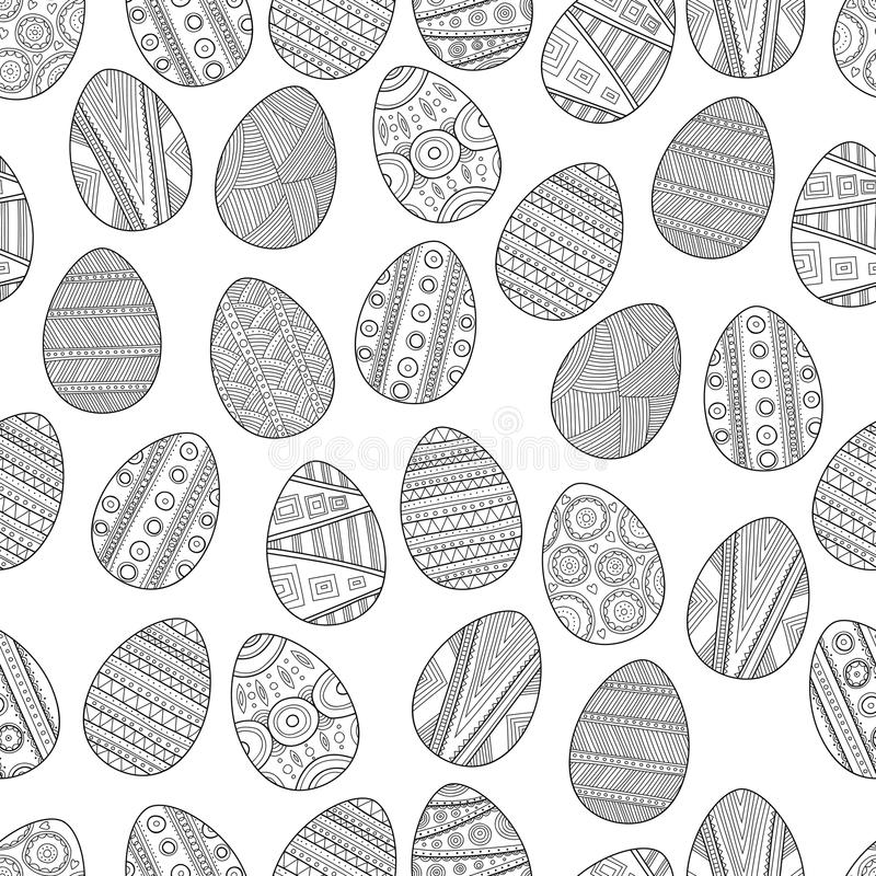 seamless black white pattern easter eggs coloring book page
