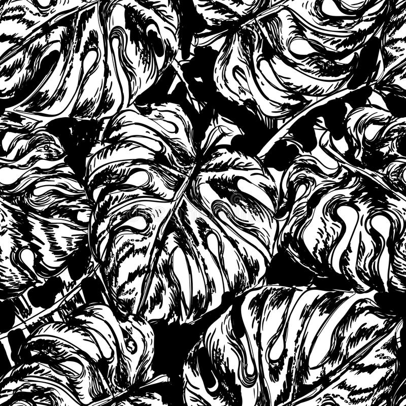 Seamless pattern with exotic leafs stock illustration