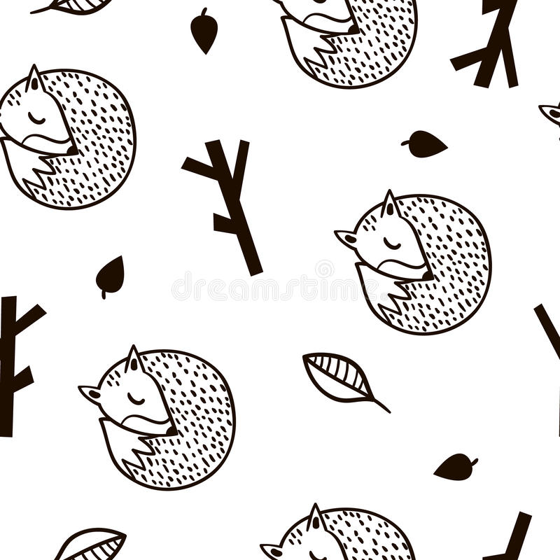Seamless black and white pattern with fox,branch and leaves.Minimalistic texture in scandinavian style.Vector background. royalty free illustration