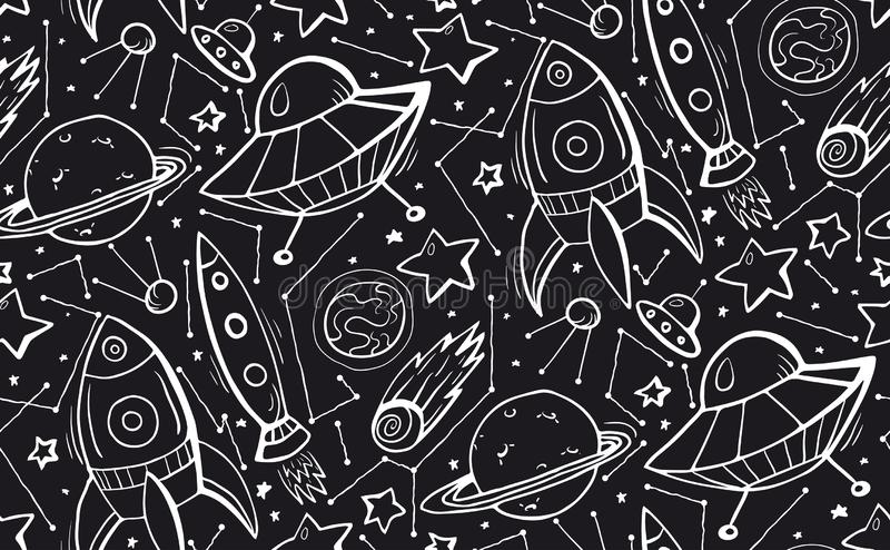 Seamless black and white pattern with hand drawn contour child illustrations of stars, spaceships and UFOs. Vector doodle texture. For wallpaper, textile stock illustration