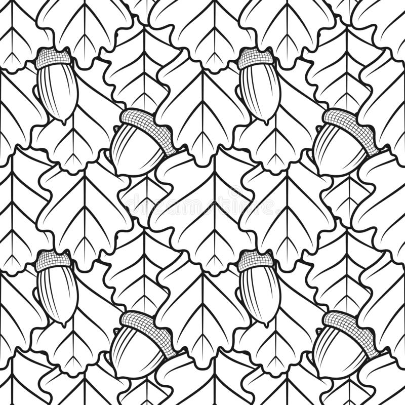 Seamless black and white pattern with oak leaves and acorns. stock illustration