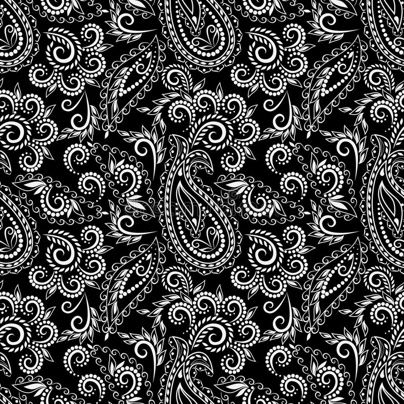 Seamless Black And White Pattern With Paisley And Flowers