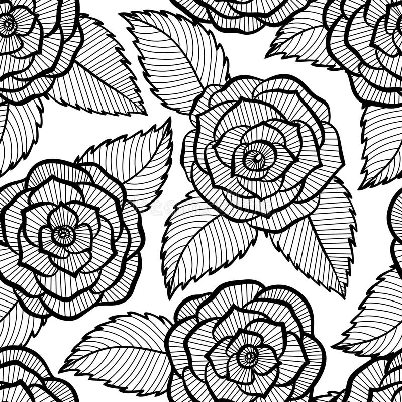 Black Flower Rose From Lace On White Background: Seamless Black And White Pattern In Roses And Leaves Lace