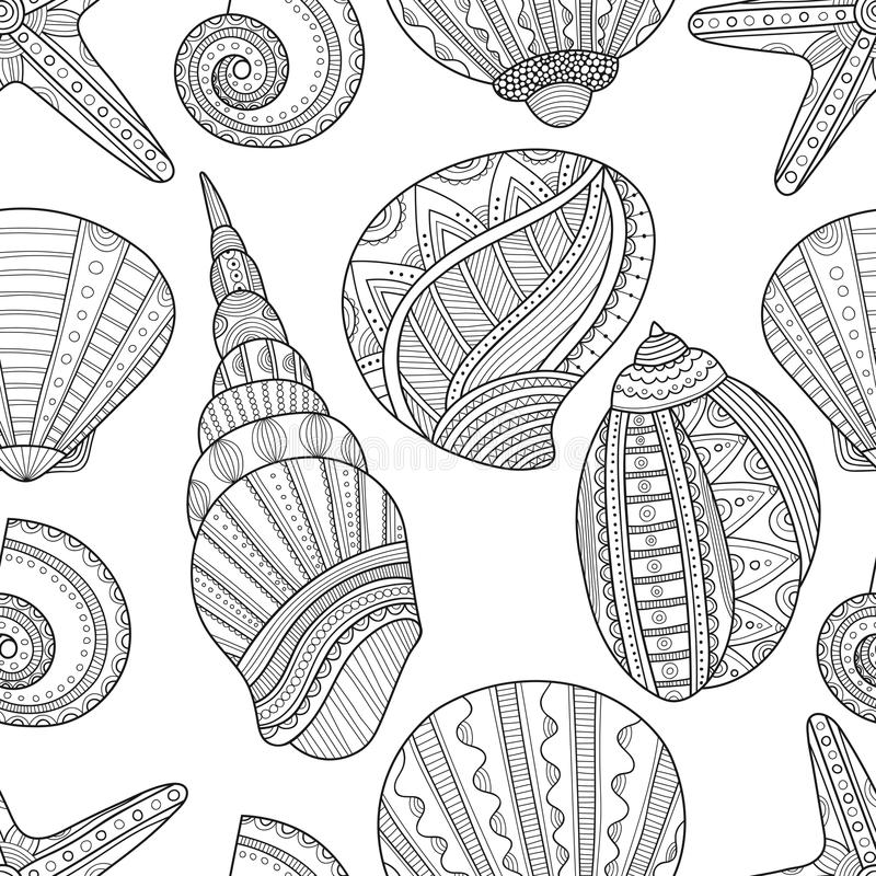 Seamless black and white pattern of seashells to coloring for Shells coloring page