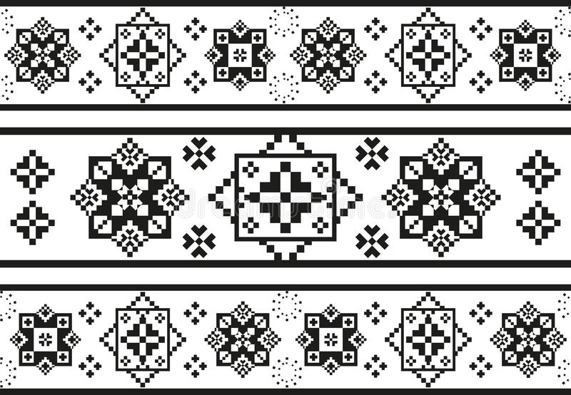 Seamless black and white pattern with stylized ethnic embroidery stock illustration