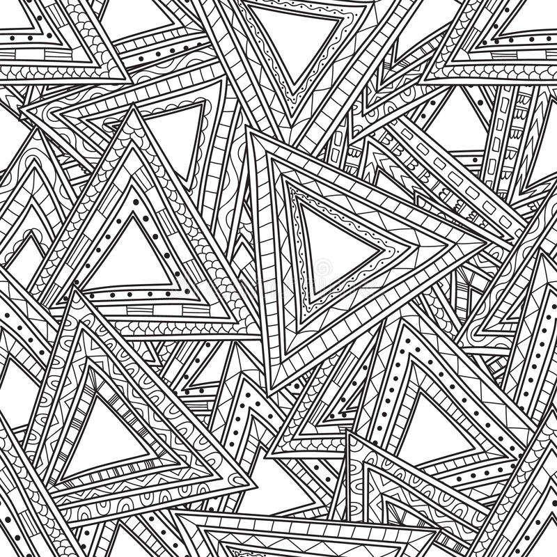 Download Seamless Black And White Pattern Of Triangles Coloring Pages For Adults Stock Vector