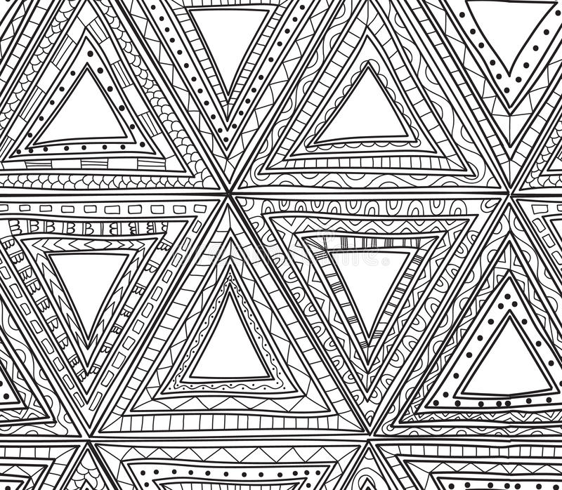 Seamless Black And White Pattern Of Triangles Coloring