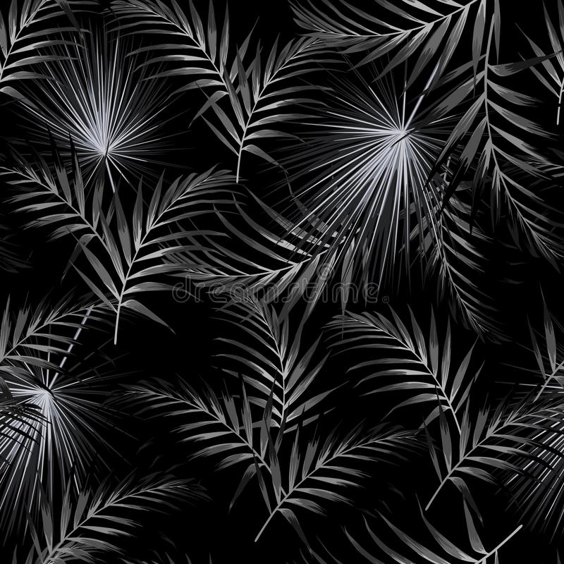 Seamless black white pattern with tropical palm leaves. Black background. stock illustration