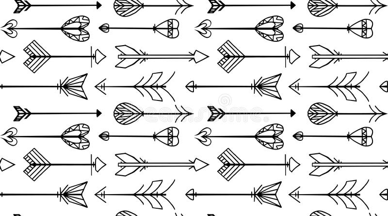 Seamless black and white texture with Boho arrows stock illustration