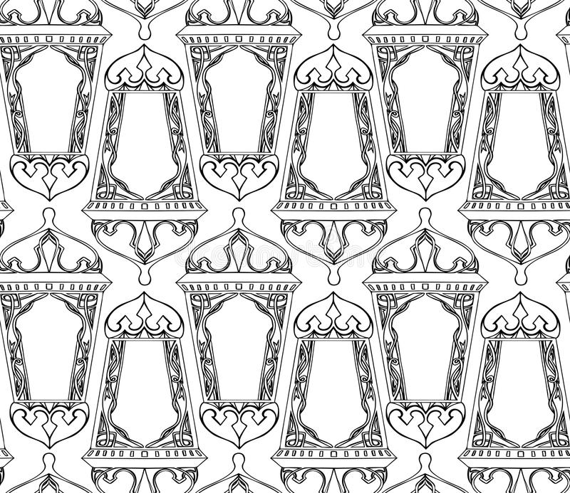Seamless black and white texture with outline of arabic lantern. Ramadan lantern. The Muslim festival of Ramadan. Vector pattern for your creativity royalty free illustration
