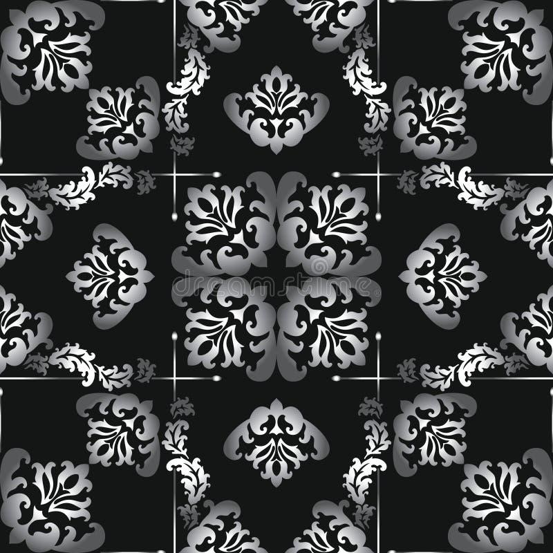Seamless black and white vector damask pattern stock illustration