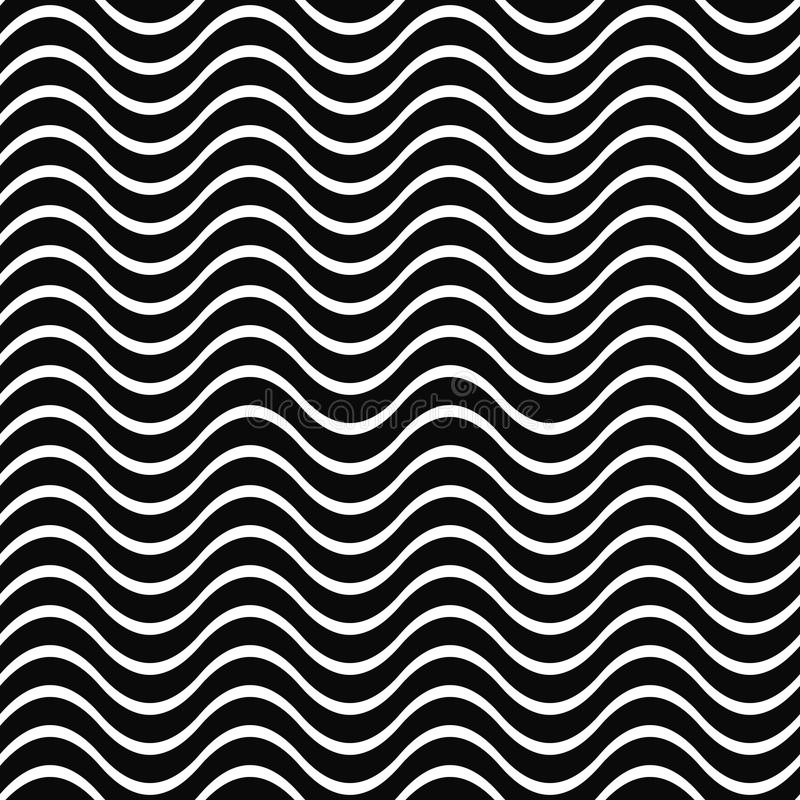 Seamless black and white wave pattern background royalty free illustration