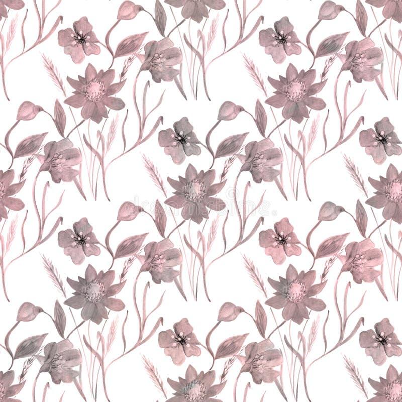 seamless blom- försiktig modell Rosa färgblommasidor på en vit bakgrund vektor illustrationer