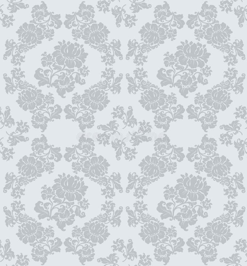 seamless blom- grå prydnad royaltyfri illustrationer